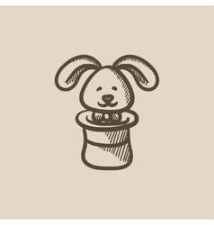 Rabbit in magician hat sketch icon vector image