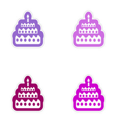 Set of paper sticker on white background cake vector