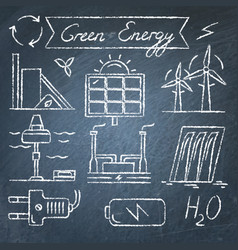 set of renewable energy hand drawn icons vector image vector image