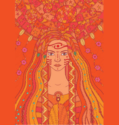 Shaman boho indian girl with floral and waterdrop vector