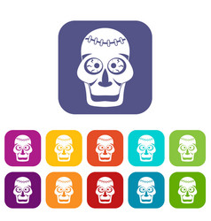 Skull icons set flat vector