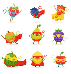 Superhero fruits in masks and capes set of cute vector