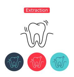 tooth extraction line icon vector image vector image