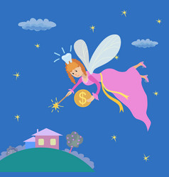 Tooth fairy with a magic wand and coin vector