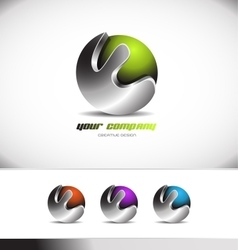Green metal sphere corporate business 3d logo vector