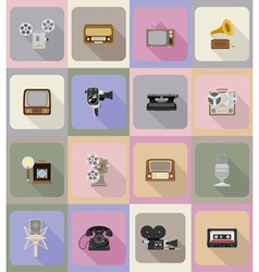 Multimedia flat icons 20 vector