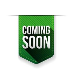 Coming Soon green ribbon vector image