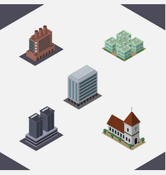 Isometric building set of office industry chapel vector