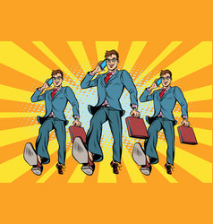 several businessmen with telephone marching vector image