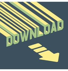 The word download with an arrow 3d vector
