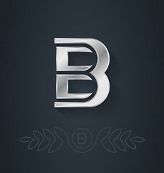 Elegant silver font letter b template for company vector