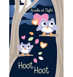 Awake at night hoot hoot vector