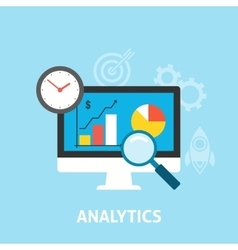 Analytics icons flat vector