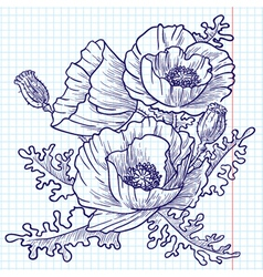 bouquet of red poppies doodle version vector image