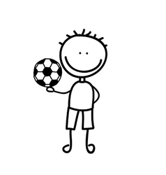 Boy with balloon soccer drawing isolated icon vector