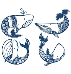Funny whales vector