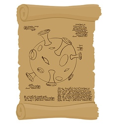 Ancient scroll with map of moon Old paper with vector image