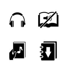 audiobook simple related icons vector image