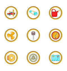 Car accessories icons set cartoon style vector