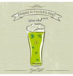 Card for st patricks day with green beer mug vector