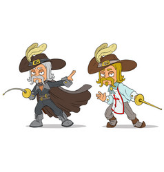 Cartoon musketeer with sword characters set vector