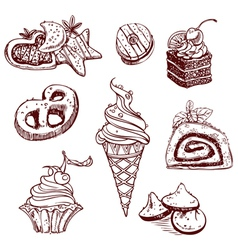 Collection of sweets in a decorative linear style vector
