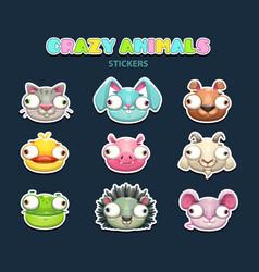 Comic crazy animal faces set vector