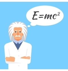 Einstein is stands keeping the formula in his head vector