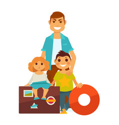 Father with kids near travelling bags and lifebuoy vector