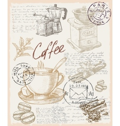 Hand drawn coffee vector