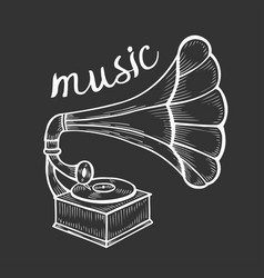 Hand drawn gramophone vector