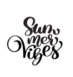 handwriting summer vibes lettering logo vector image