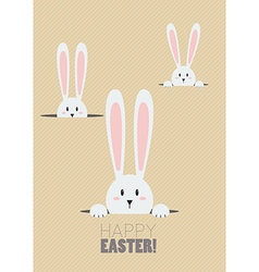 Happy easter with white rabbits in a hole vector
