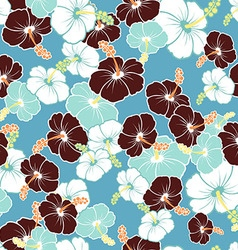 Hawaiian seamless pattern with hibiscus flowers vector