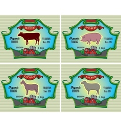Icons pig cow sheep goat vector