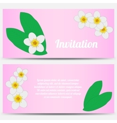 Invitation with tropical plumeria on a pink vector image