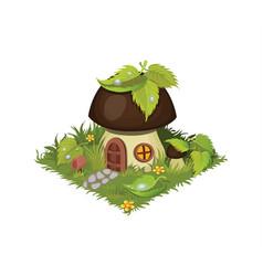 Isometric cartoon fantasy mushroom village house vector