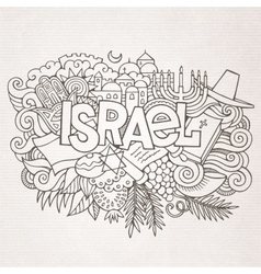 Israel hand lettering and doodles elements vector image
