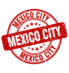 Mexico city red grunge round vintage rubber stamp vector