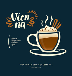 modern hand drawn lettering label for coffee drink vector image