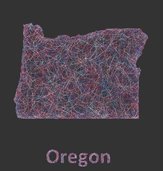 Oregon line art map vector image