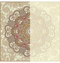 ornate circle floral card announcement vector image vector image