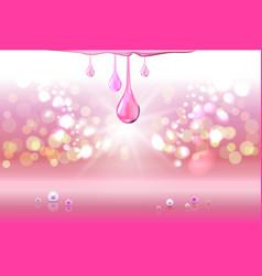 Pink perls oil drops green shiny sparkles vector