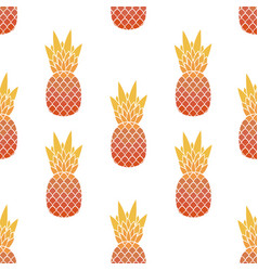 seamless pattern of pineapples with leaf tropical vector image