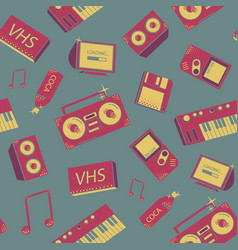 seamless pattern with old school things colorful vector image vector image