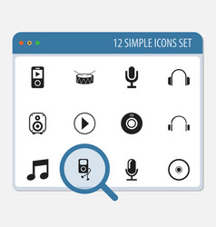 Set of 12 editable media icons includes symbols vector