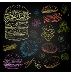 Set of color chalk drawn on a blackboard food vector