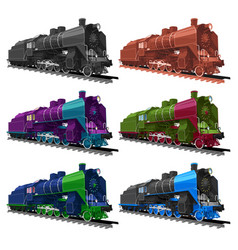 Set of old steam locomotive vector