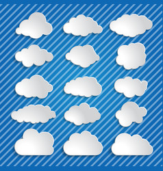 set of white clouds on a blue striped background vector image vector image
