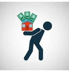 Silhouette man financial crisis house money vector